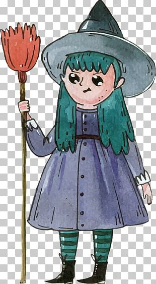 Hand Painted Watercolor Witch PNG