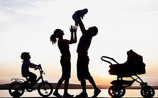 Sunset Happy Family Silhouette PNG