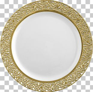 Plate Plastic Disposable Tableware Gold PNG