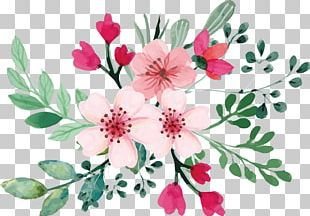 Romantic Watercolor Cherry Blossom Bouquet PNG