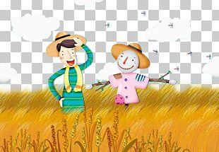 Cartoon Farmer Paddy Field Oryza Sativa Illustration PNG
