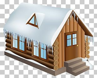 Log Cabin Cottage Winter PNG