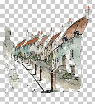 Watercolor Painting Architecture Drawing Sketch PNG