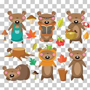 Cartoon Bear Autumn Dress PNG