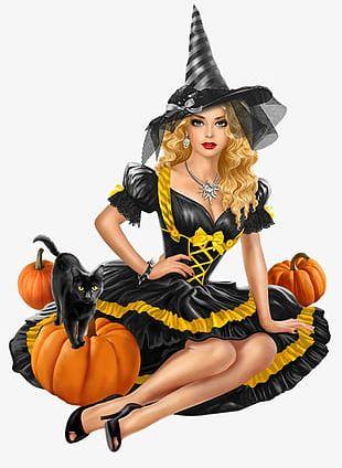 Halloween Pumpkin Witch Creative PNG