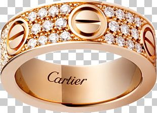 Love Bracelet Ring Cartier Diamond Gold PNG