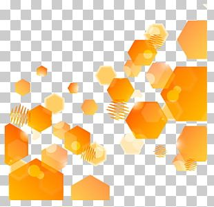Abstract Art Orange Hexagon PNG