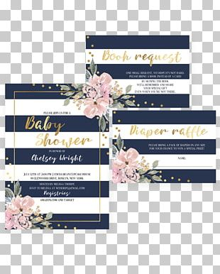 Wedding Invitation Baby Shower Convite Bridal Shower Navy Blue PNG