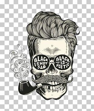 Calavera Skull Hipster Beard PNG