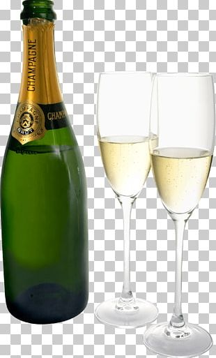 Champagne Two Glasses Bottle PNG