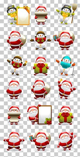 Santa Claus Snowman Christmas Illustration PNG