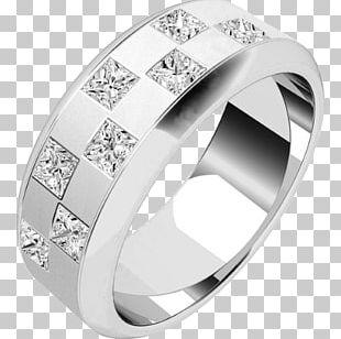 Wedding Ring Diamond Princess Cut Jewellery PNG
