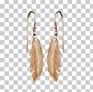 Earring Jewellery Colored Gold Feather PNG