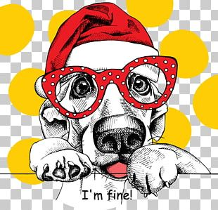 French Bulldog Puppy Santa Claus Christmas Drawing PNG