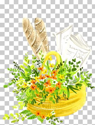 Basket Of Bread Painting Illustration PNG