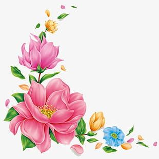 Hand-painted Pink Flower Pattern PNG