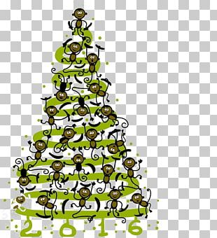 Monkey Christmas Tree Poster PNG