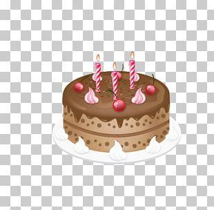 Cartoon Hand Painted Birthday Cake PNG