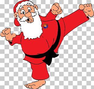 Taekwondo Santa Claus Karate Black Belt Obi PNG
