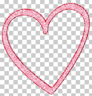 Pink Heart Love Drawing PNG