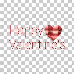 Happy Valentine's Modern Text Red Heart PNG