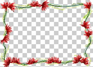 Border Flowers Watercolor Painting Drawing PNG