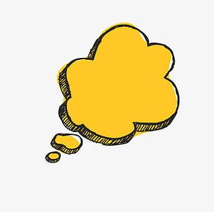 Yellow Simple Dialogue Cloud Effect Element PNG