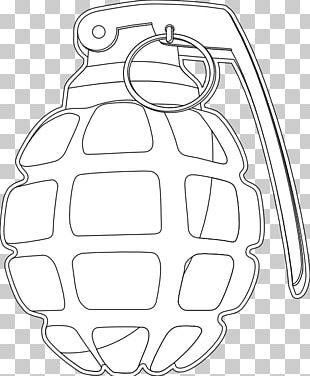 Coloring Book Line Art Grenade Weapon PNG