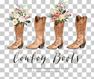 Cowboy Boot Cowboy Hat Watercolor Painting PNG