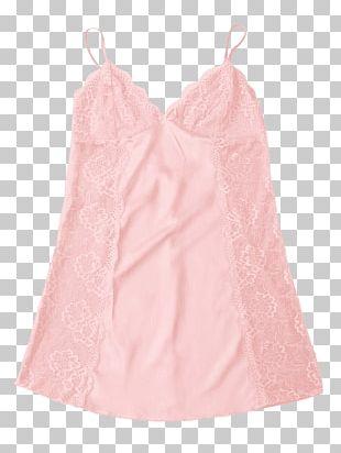 Satin Sleeve Nightwear Pink M Dress PNG