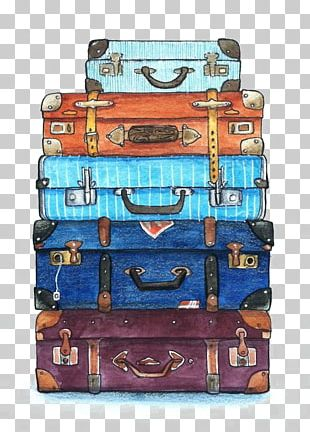 Travel Watercolor Painting Suitcase PNG