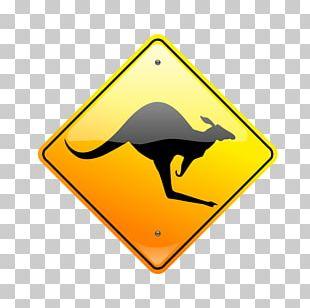 Kangaroo Warning Sign PNG