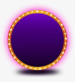 Neon Round Decorative Borders PNG