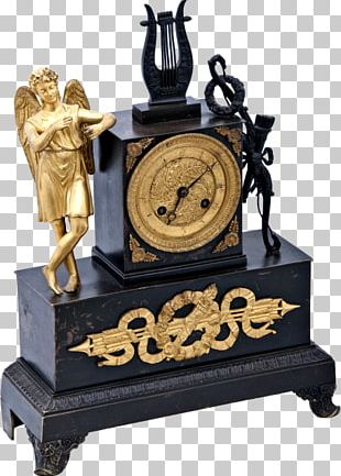 French Empire Mantel Clock Fireplace Mantel Gilding PNG
