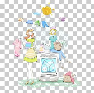 Washing Machine Cartoon Illustration PNG