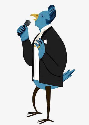 Cartoon Singing Bird PNG