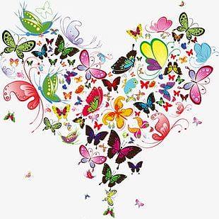 Butterfly Heart-shaped Decoration PNG