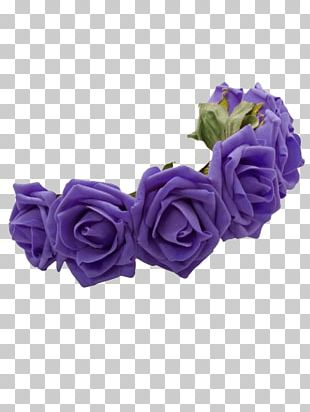 Crown Flower Wreath Headband Blue PNG