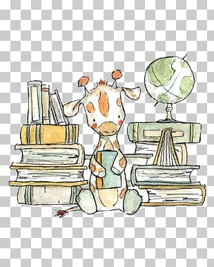 Giraffe Drawing Reading Illustration PNG