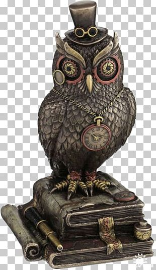 Owl Bronze Sculpture Steampunk Top Hat PNG