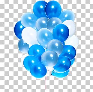 Hot Air Balloon Birthday Blue PNG