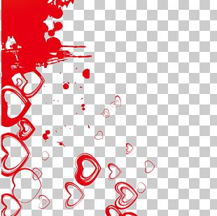 Red Ink Heart Background Material PNG