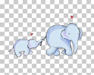 Elephant Infant Mother Illustration PNG