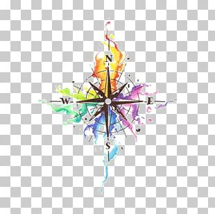 Abziehtattoo Compass Idea Watercolor Painting PNG