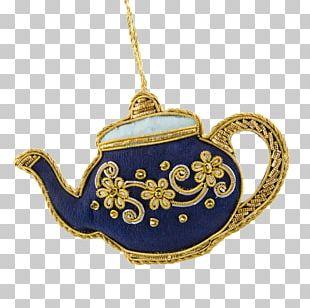 Cobalt Blue Christmas Ornament Teapot Jewellery PNG
