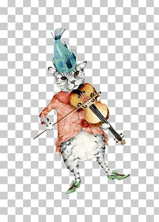 Cat Violin Fiddle Watercolor Painting Illustration PNG