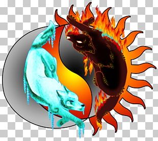 Gray Wolf Drawing Fire Dragon PNG