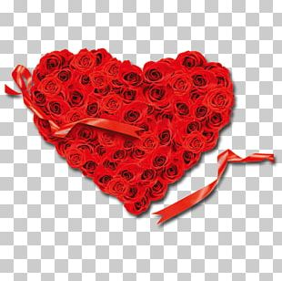 Heart Rose Red Flower Valentines Day PNG
