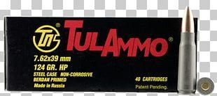 7.62×39mm Full Metal Jacket Bullet Cartridge Hollow-point Bullet Ammunition PNG