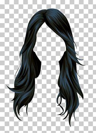 Stardoll Black Hair Wig Long Hair PNG